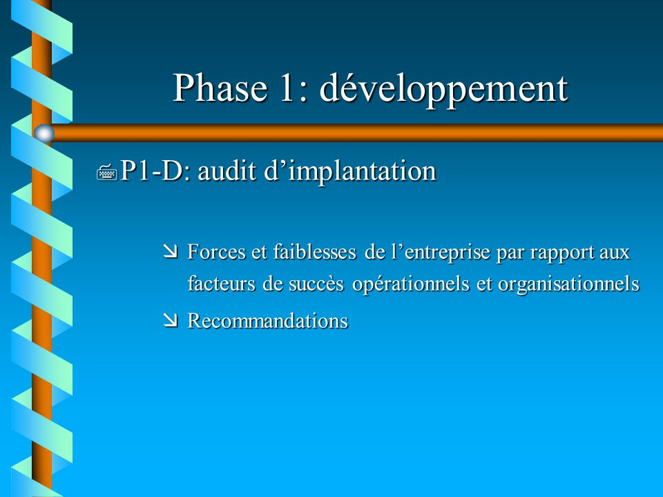 Phase 1: développement P1-D: audit d'implantation