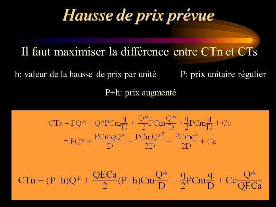 h: valeur de la hausse de prix par unité P: prix unitaire régulier