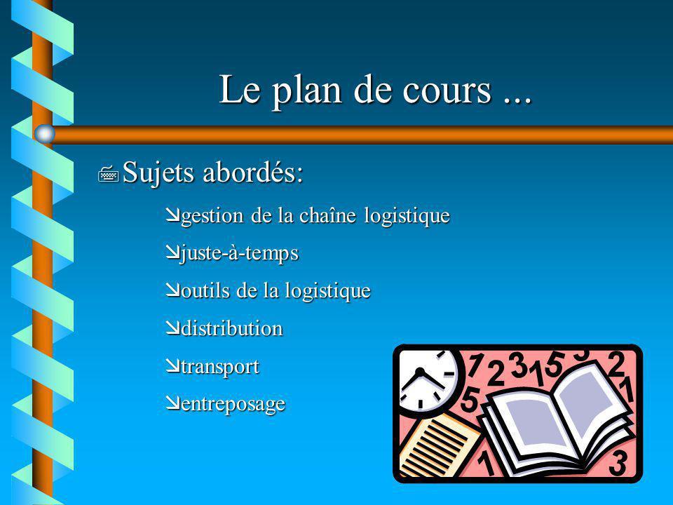 Le plan de cours ... Sujets abordés: gestion de la chaîne logistique