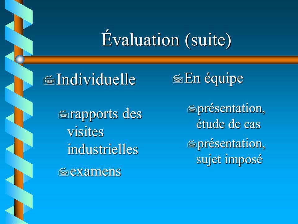 Évaluation (suite) Individuelle En équipe