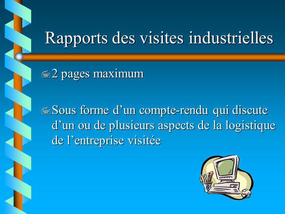 Rapports des visites industrielles