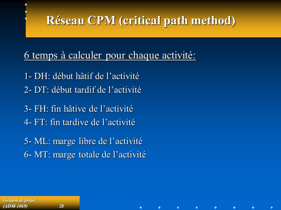 Réseau CPM (critical path method)