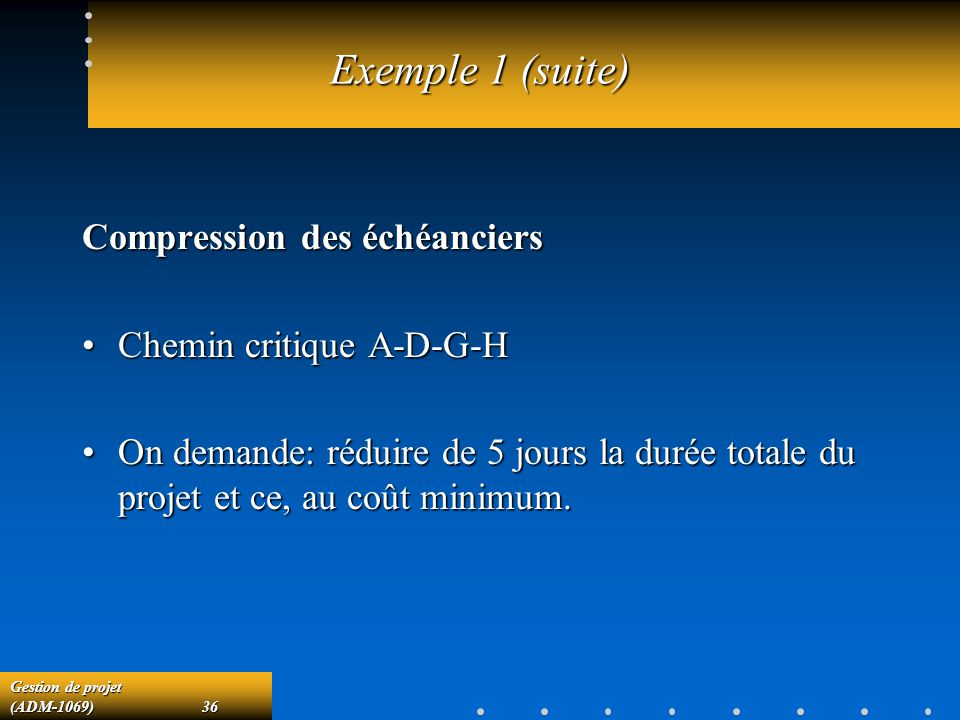 Exemple 1 (suite) Compression des échéanciers Chemin critique A-D-G-H