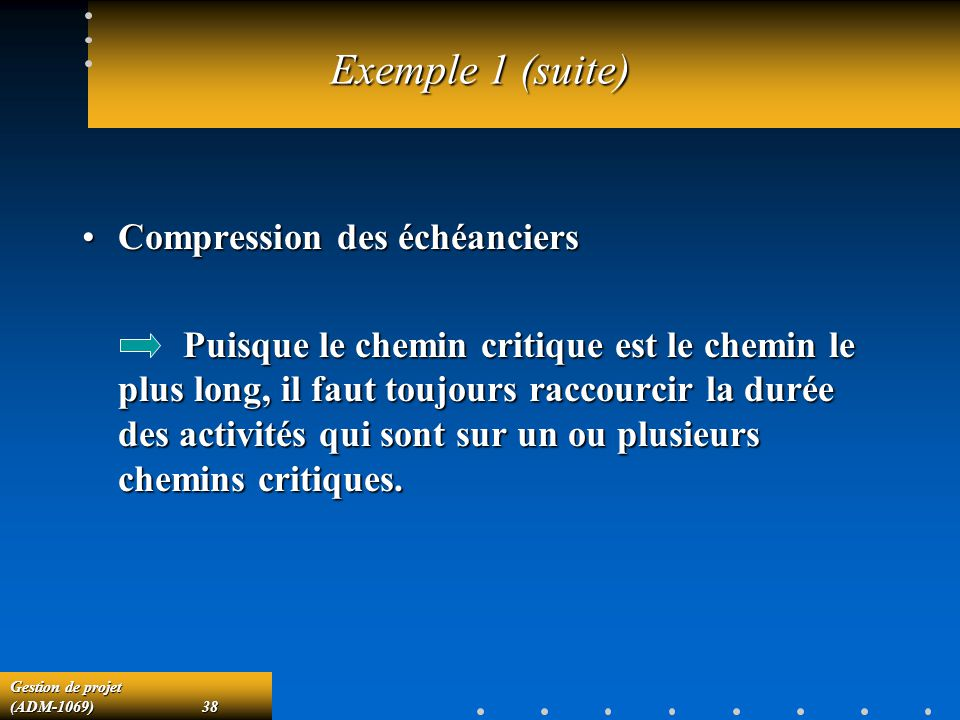 Exemple 1 (suite) Compression des échéanciers