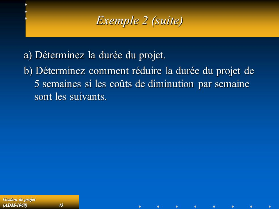 Exemple 2 (suite) a) Déterminez la durée du projet.