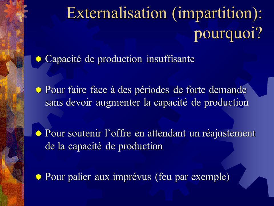 Externalisation (impartition): pourquoi