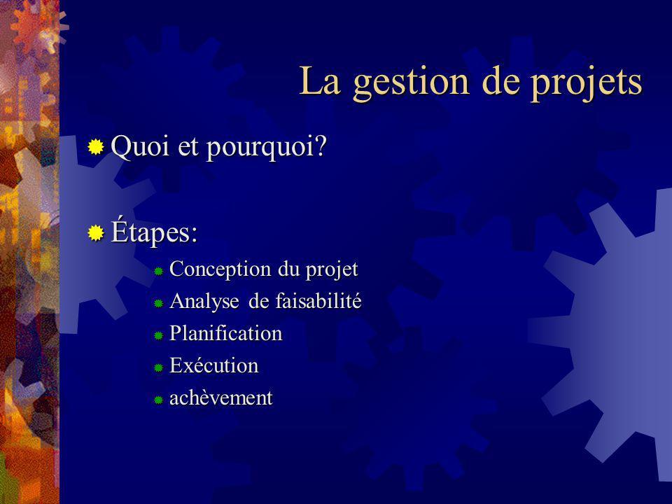 La gestion de projets Quoi et pourquoi Étapes: Conception du projet