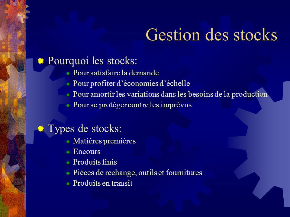 Gestion des stocks Pourquoi les stocks: Types de stocks: