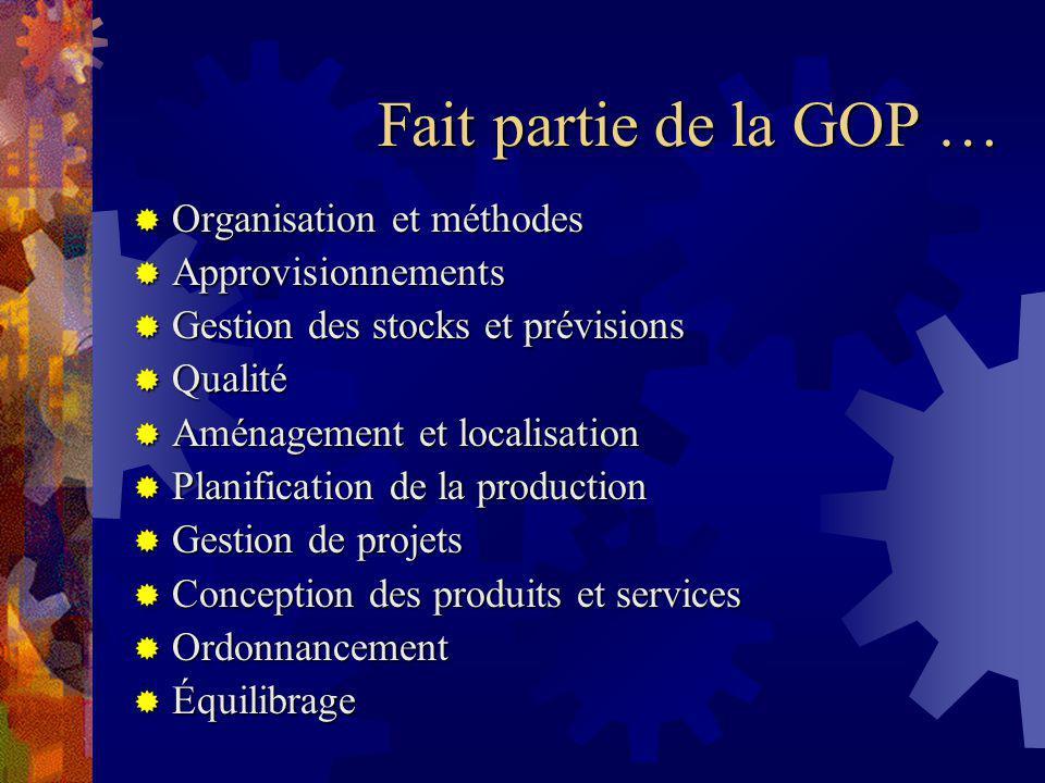 Fait partie de la GOP … Organisation et méthodes Approvisionnements