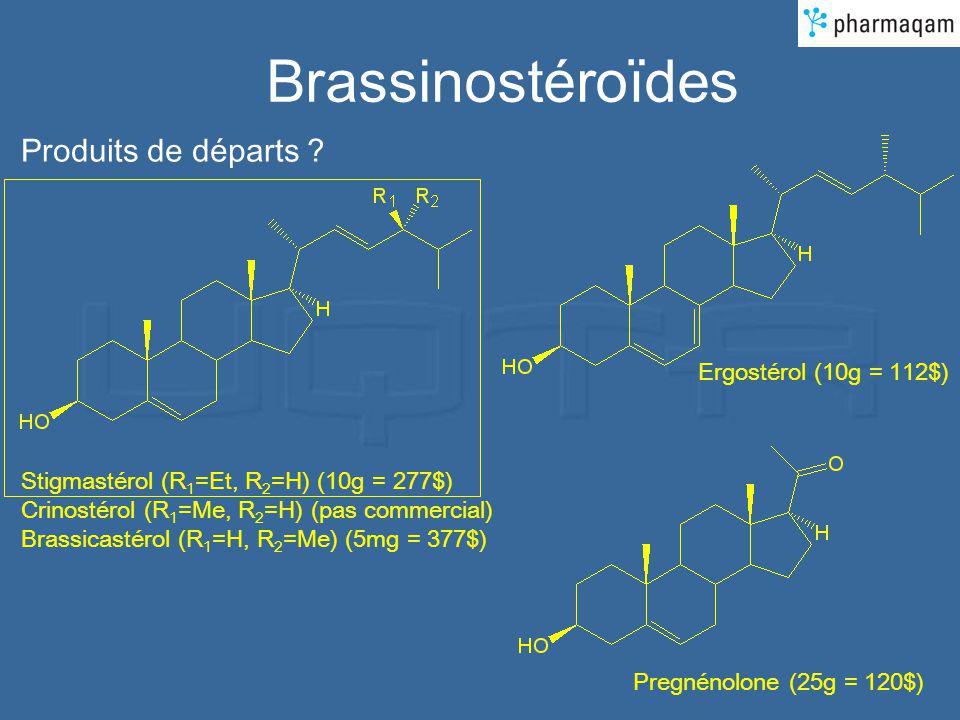 Brassinostéroïdes Produits de départs Ergostérol (10g = 112$)