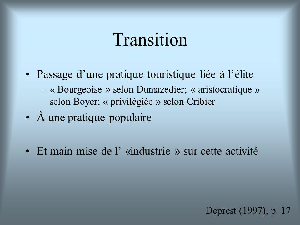 Transition Passage d'une pratique touristique liée à l'élite