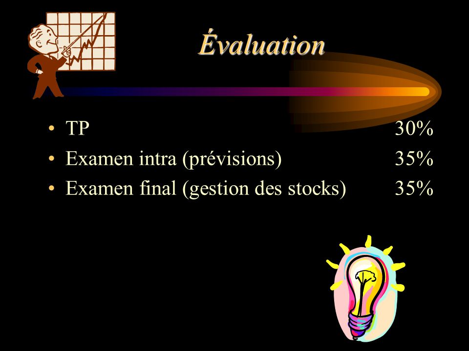 Évaluation TP 30% Examen intra (prévisions) 35%