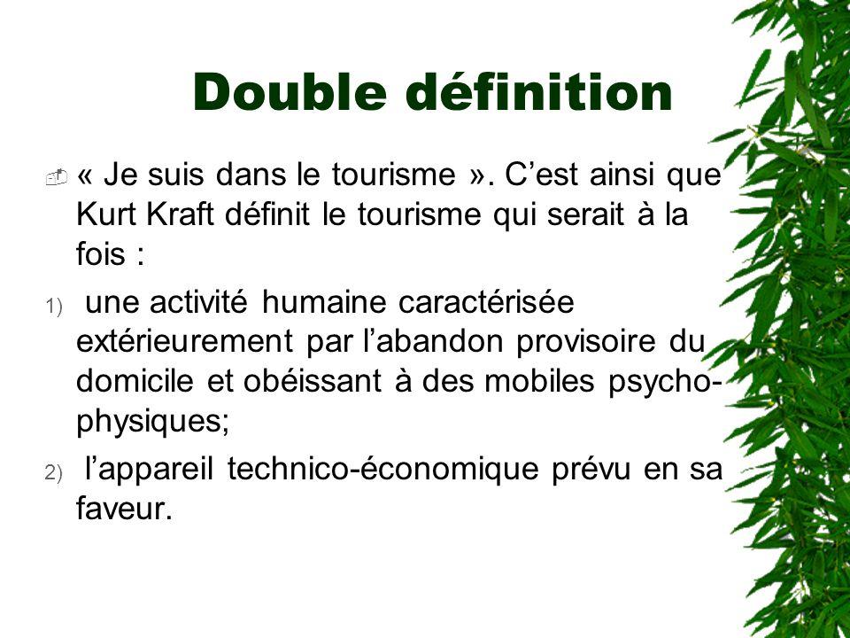 Double définition « Je suis dans le tourisme ». C'est ainsi que Kurt Kraft définit le tourisme qui serait à la fois :