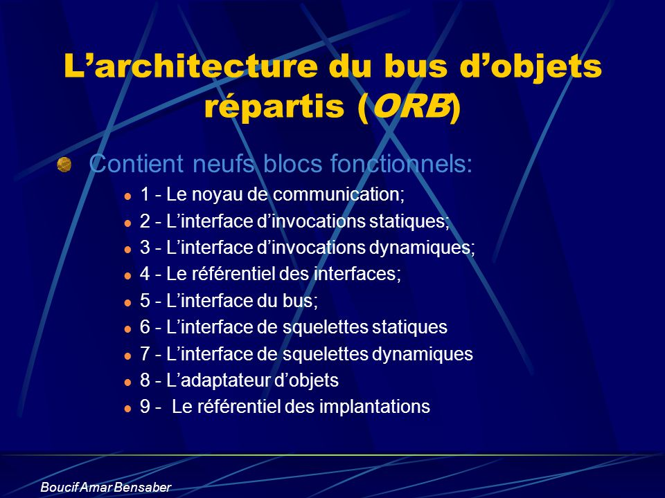L'architecture du bus d'objets répartis (ORB)