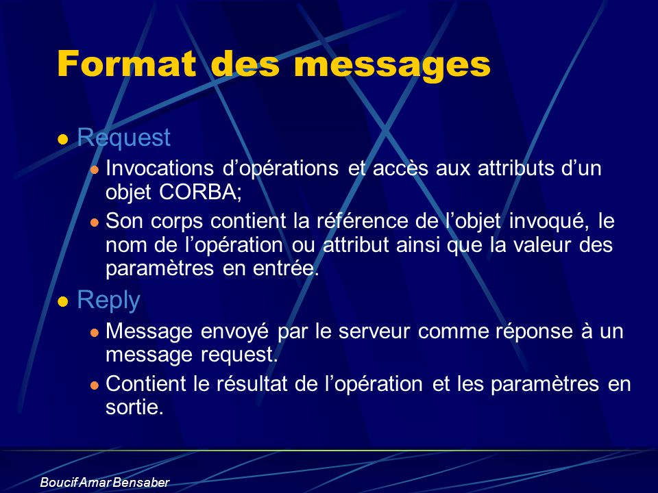 Format des messages Request Reply