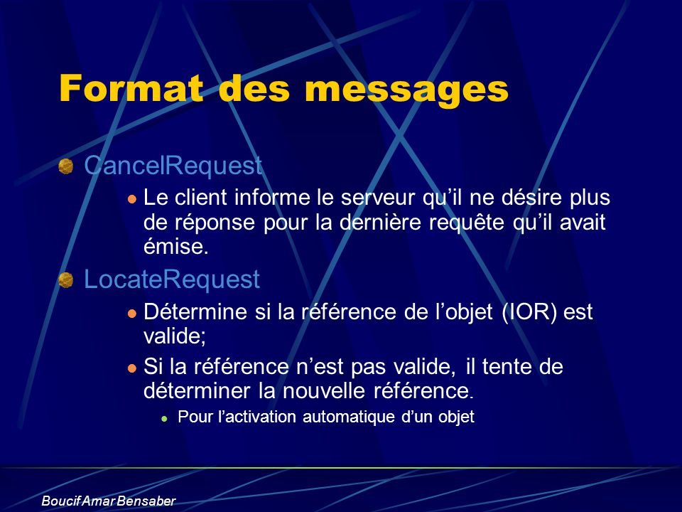 Format des messages CancelRequest LocateRequest