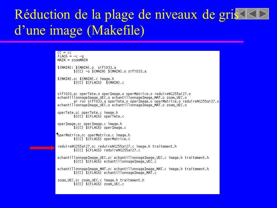 Réduction de la plage de niveaux de gris d'une image (Makefile)