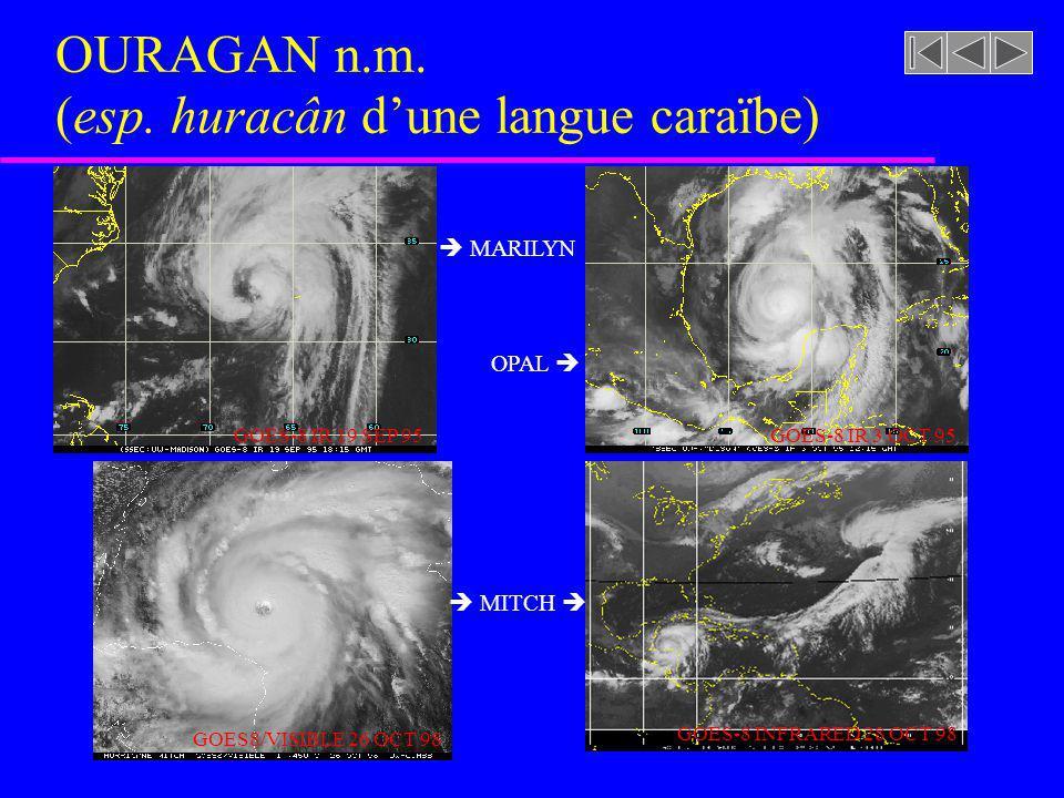 OURAGAN n.m. (esp. huracân d'une langue caraïbe)