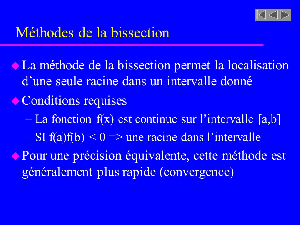 Méthodes de la bissection