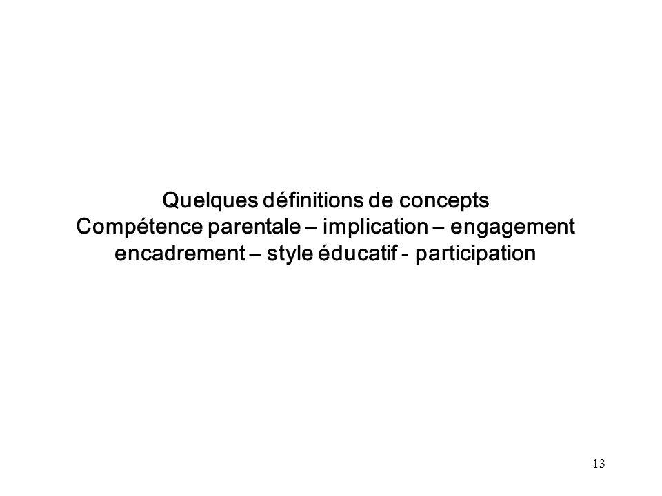 Quelques définitions de concepts Compétence parentale – implication – engagement encadrement – style éducatif - participation