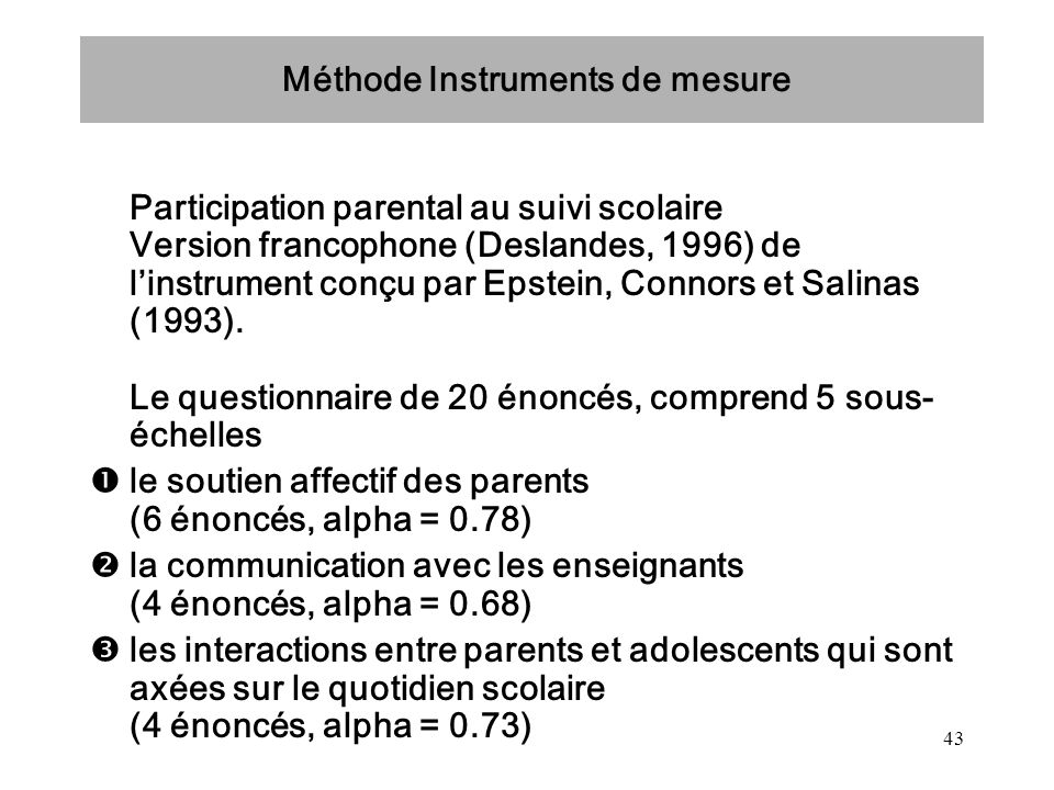 Méthode Instruments de mesure