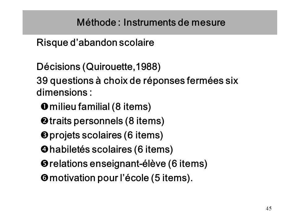 Méthode : Instruments de mesure