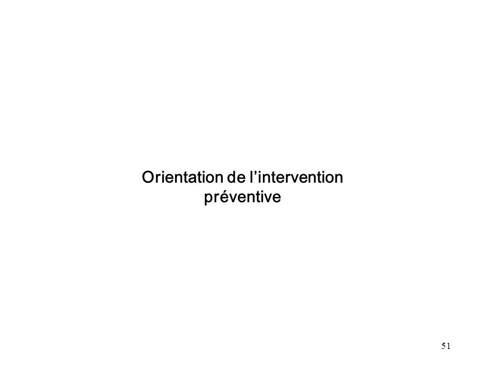 Orientation de l'intervention préventive