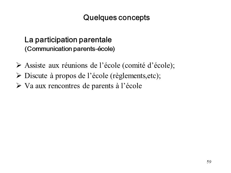 La participation parentale