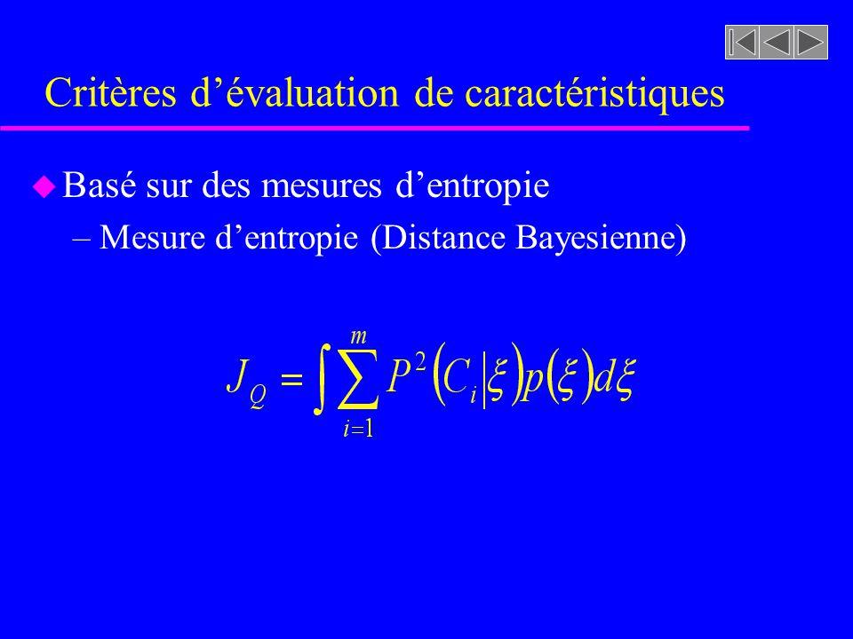 Critères d'évaluation de caractéristiques