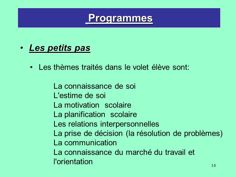 Programmes Les petits pas