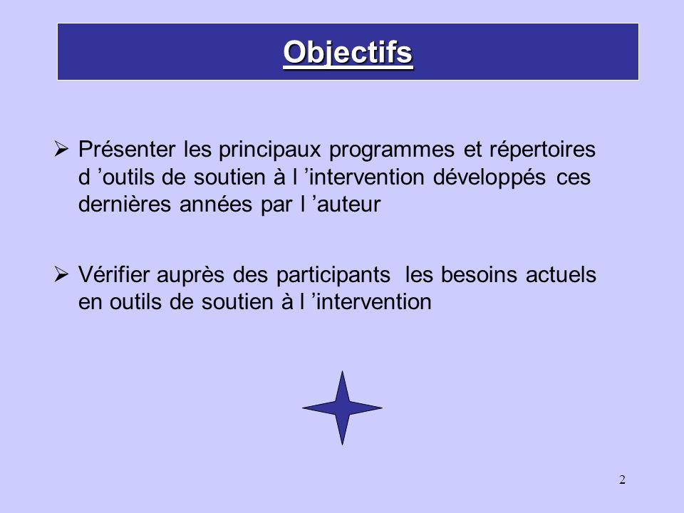 Objectifs Présenter les principaux programmes et répertoires d 'outils de soutien à l 'intervention développés ces dernières années par l 'auteur.