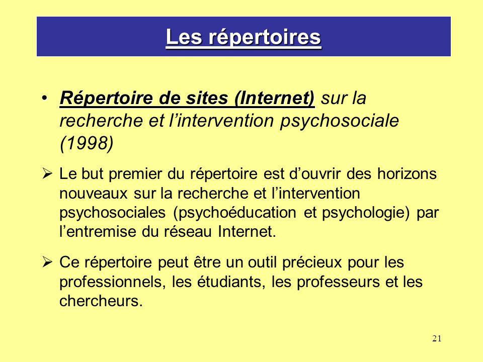 Les répertoires Répertoire de sites (Internet) sur la recherche et l'intervention psychosociale (1998)