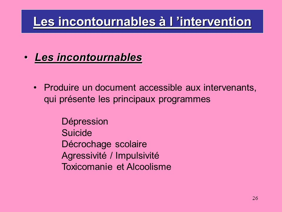 Les incontournables à l 'intervention