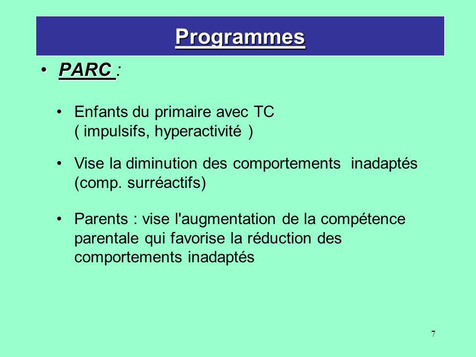 Programmes PARC : Enfants du primaire avec TC ( impulsifs, hyperactivité ) Vise la diminution des comportements inadaptés (comp. surréactifs)