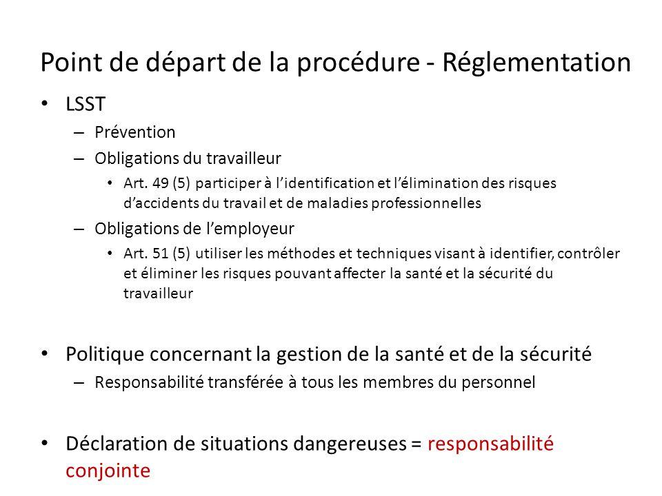 Point de départ de la procédure - Réglementation