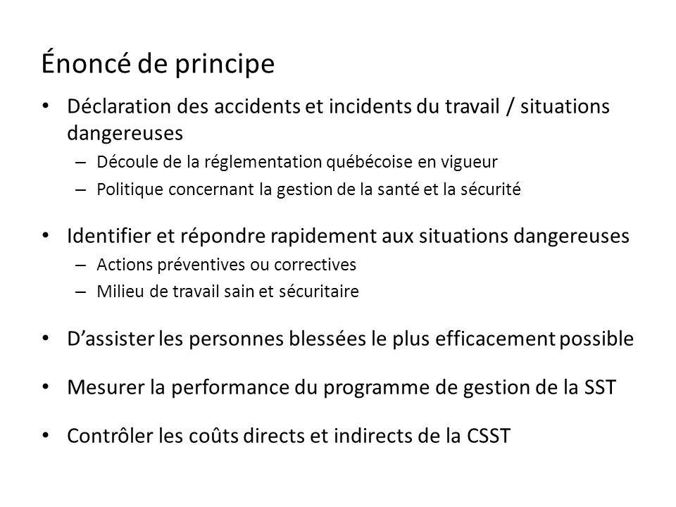 Énoncé de principe Déclaration des accidents et incidents du travail / situations dangereuses. Découle de la réglementation québécoise en vigueur.