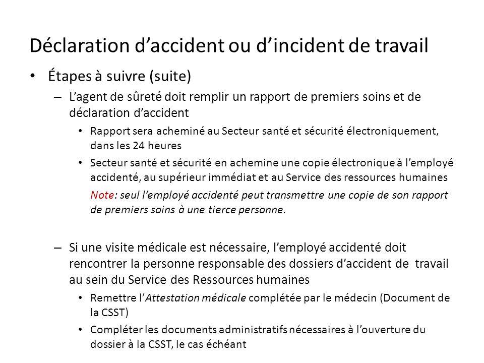 Déclaration d'accident ou d'incident de travail