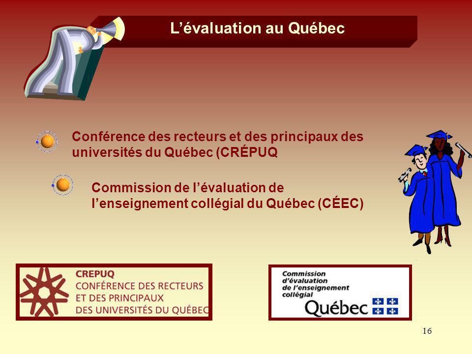 L'évaluation au Québec