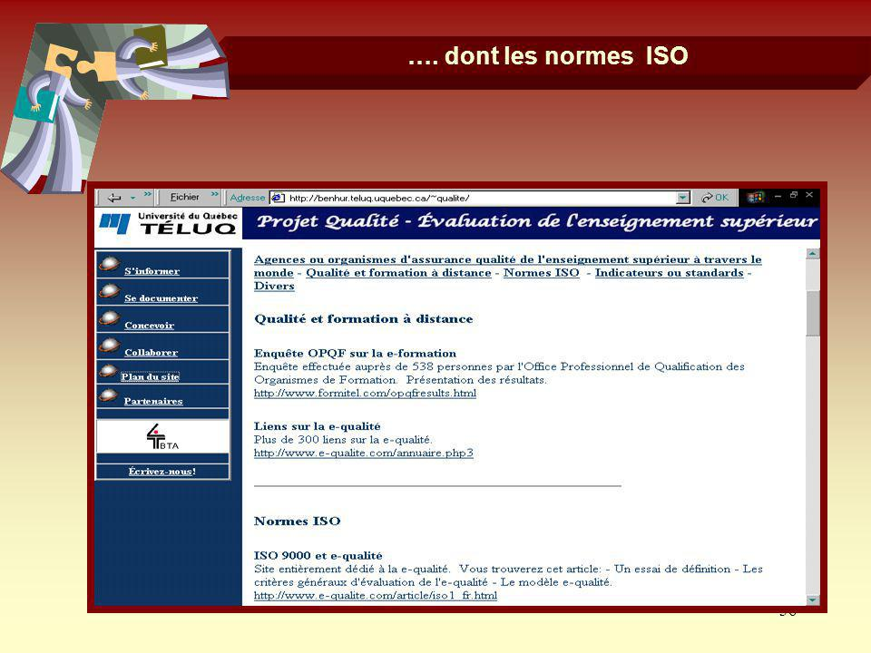 …. dont les normes ISO