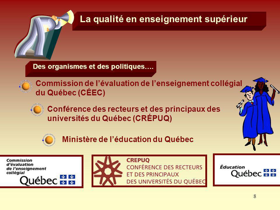 Des organismes et des politiques…. Ministère de l'éducation du Québec
