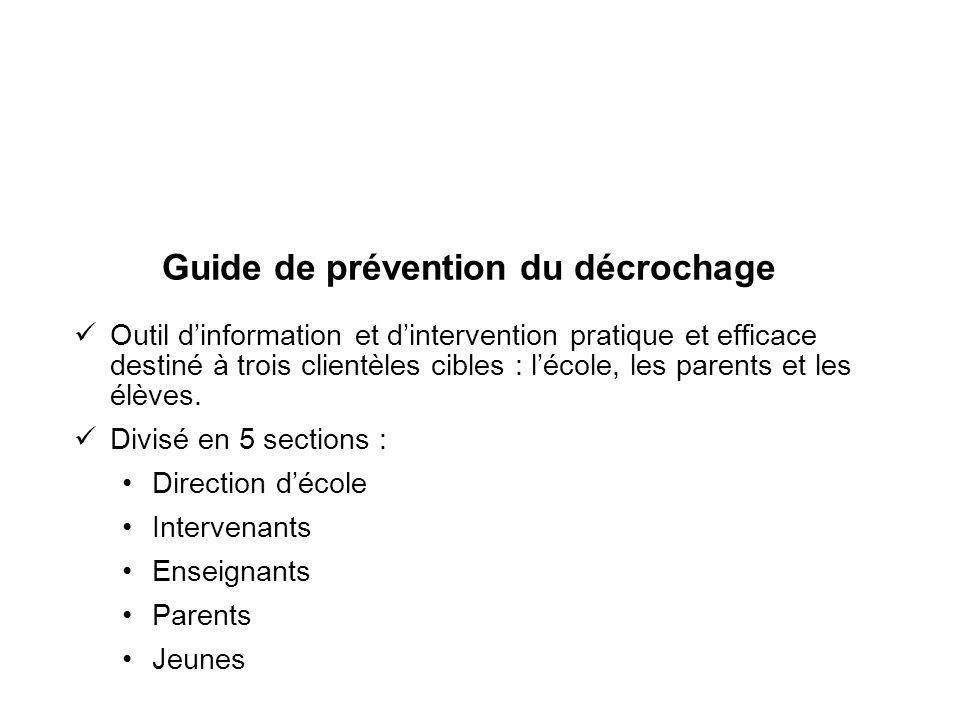 Guide de prévention du décrochage