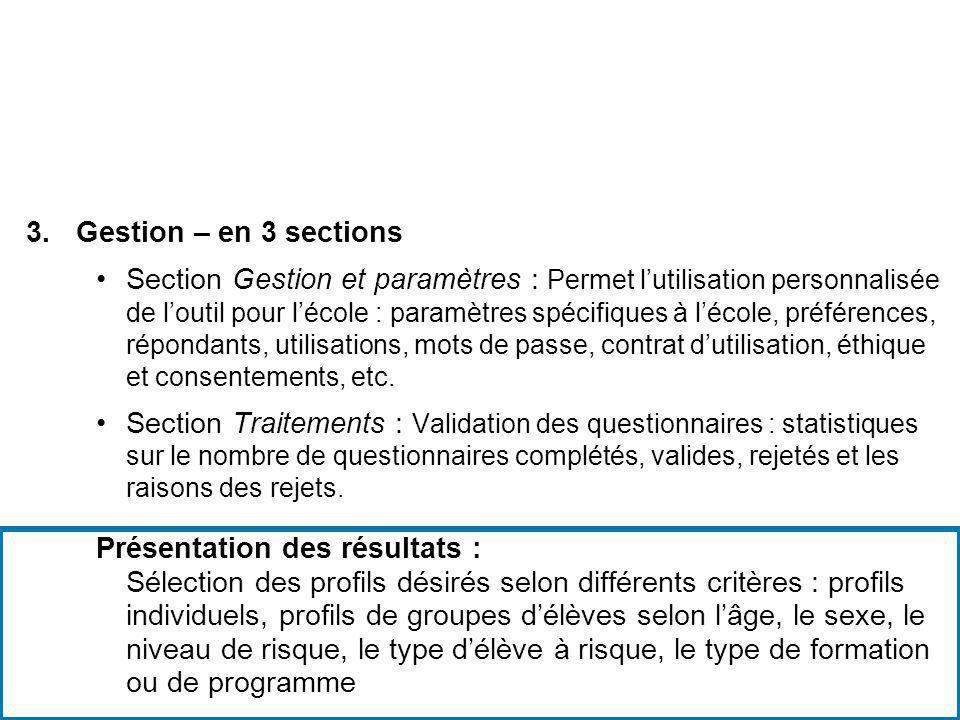 Gestion – en 3 sections