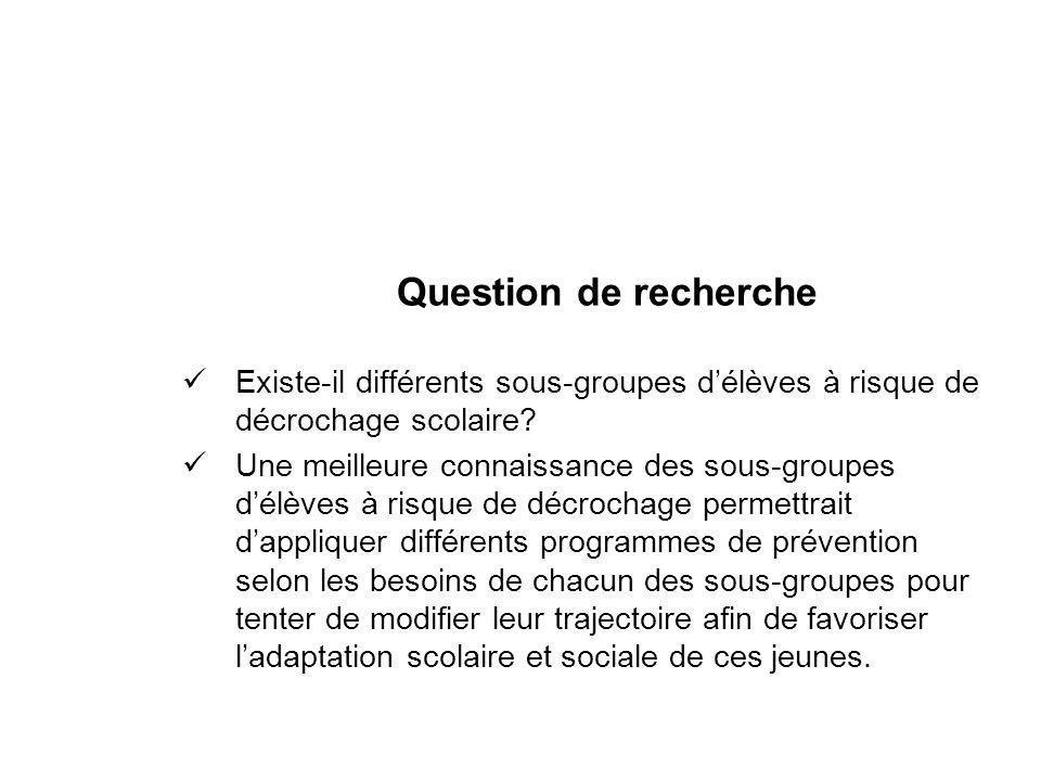 Question de recherche Existe-il différents sous-groupes d'élèves à risque de décrochage scolaire