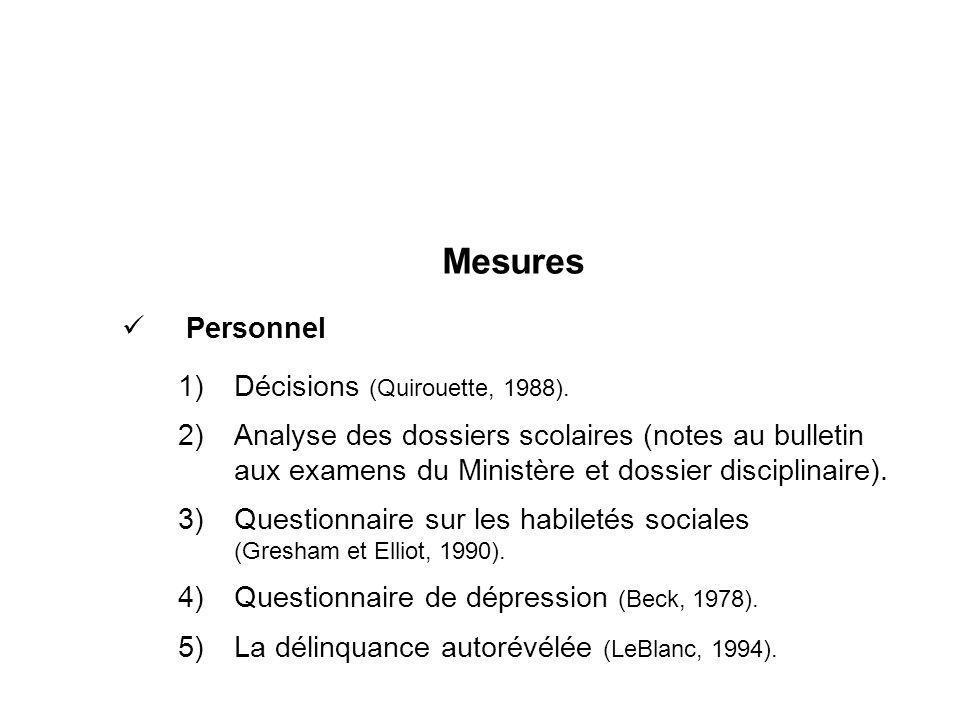 Mesures Personnel Décisions (Quirouette, 1988).