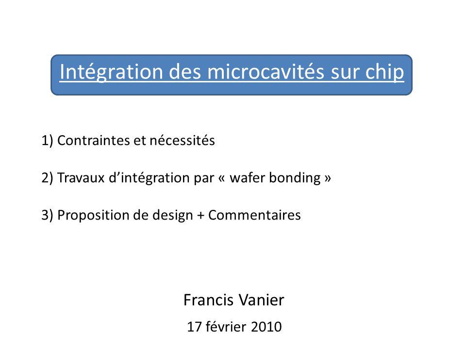 Intégration des microcavités sur chip