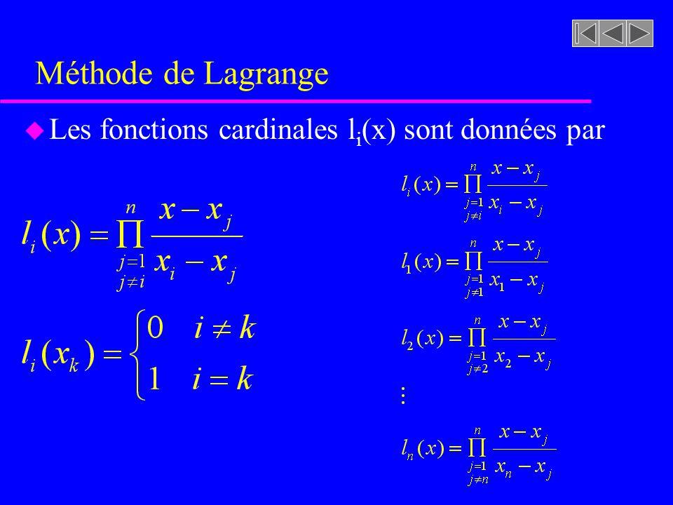 Méthode de Lagrange Les fonctions cardinales li(x) sont données par