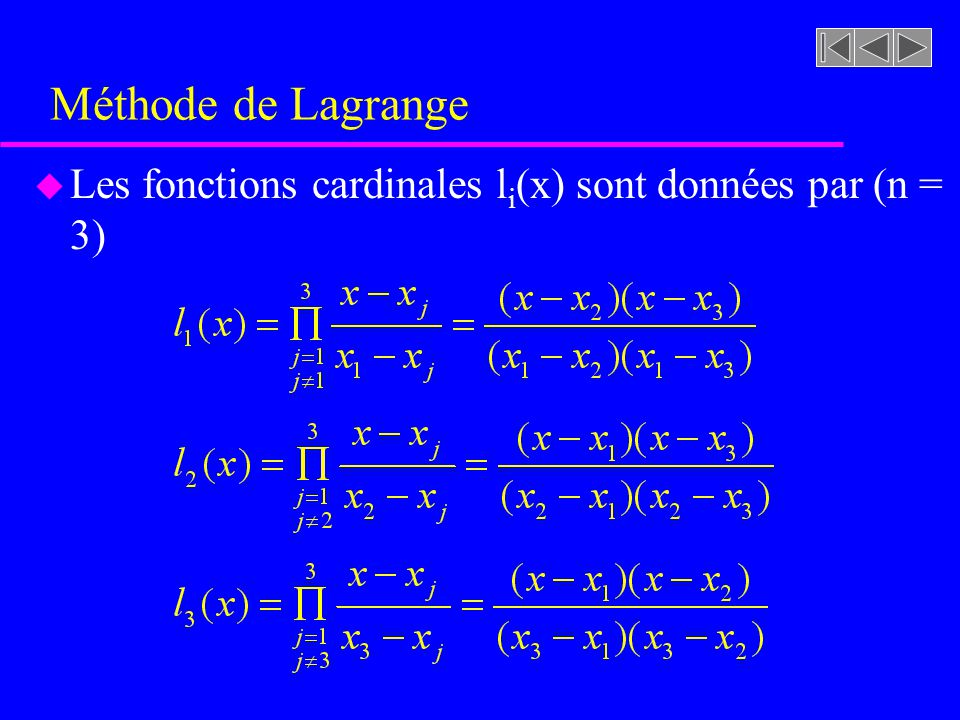 Méthode de Lagrange Les fonctions cardinales li(x) sont données par (n = 3)