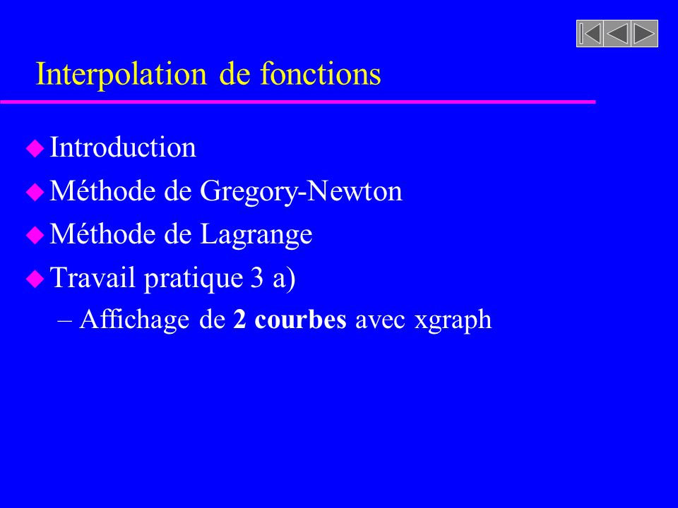 Interpolation de fonctions