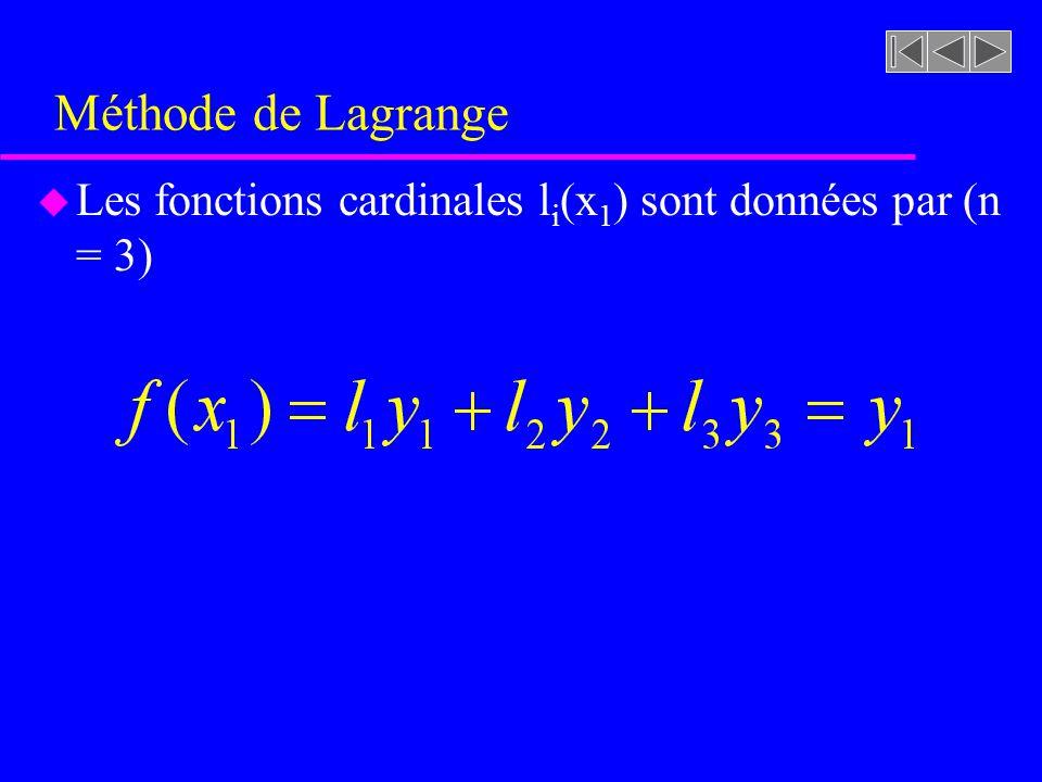 Méthode de Lagrange Les fonctions cardinales li(x1) sont données par (n = 3)