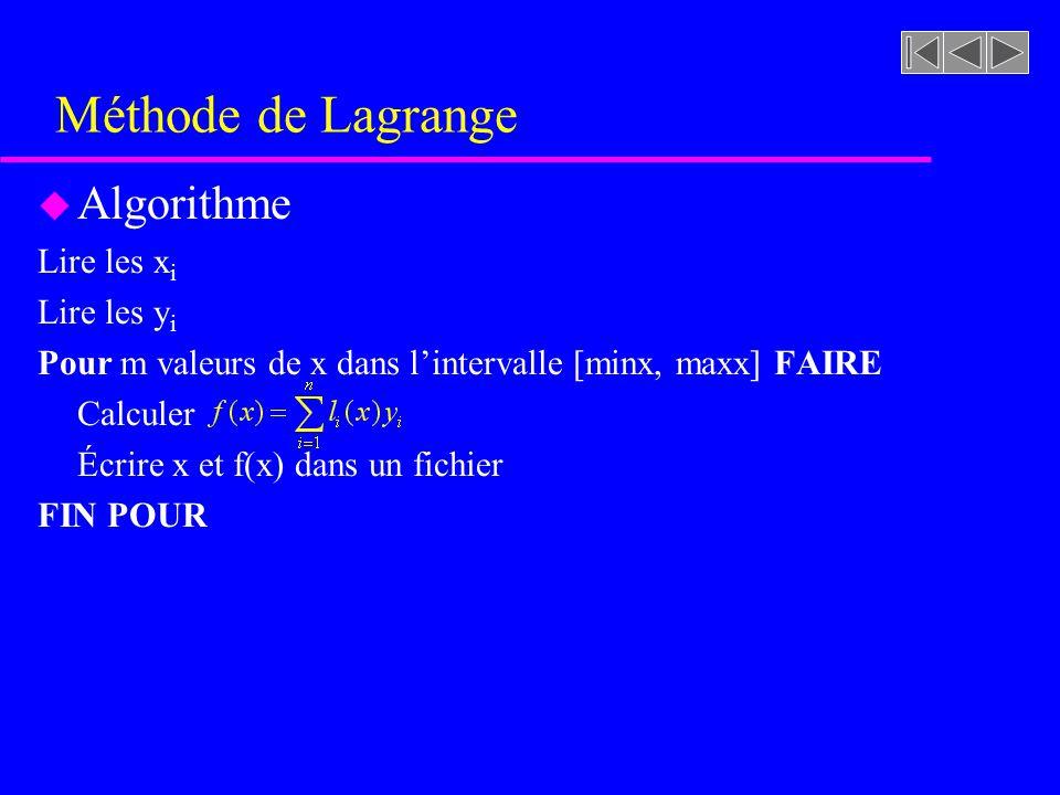 Méthode de Lagrange Algorithme Lire les xi Lire les yi
